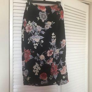 Lulus Black Floral Satin Wrap Pencil Skirt